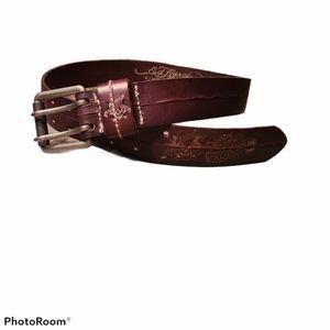 Rare Ed Hardy Love Kills Slowly Leather Belt Sz S